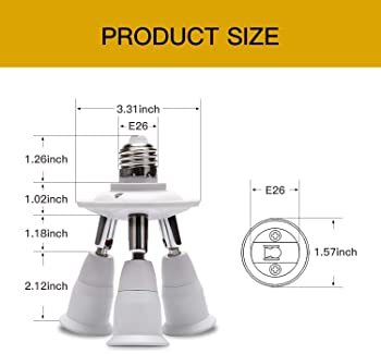 JACKYLED 3 in 1 Light Socket Splitter E26 E27 Adapter Converter for Standard LED Bulbs 360 Degrees Adjustable 180 Deg...