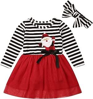 Asrlet Toddler Baby Christmas Outfits Kids Girls Deer Print Long Sleeve Tulle Tutu Dress Santa Striped Skirt Clothes Set (4-5 Years, Santa Claus)
