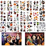 Halloween Tatuajes Temporales para Niños,Tatuajes Niños Tattoos Muertos Esqueleto Cráne...