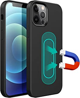 ESTPEAK Liquid Silicone Magnetic Case Compatible with iPhone 11 2019, [Built-in Metal Plate] Full Body Gel Rubber Soft Sho...