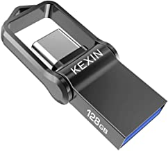KEXIN 128GB USB C Flash Drive USB 3.0 Metal Dual Drive 128 GB Pocket-Size OTG Memory Stick for Type-C Android Smartphones Tablets, Black
