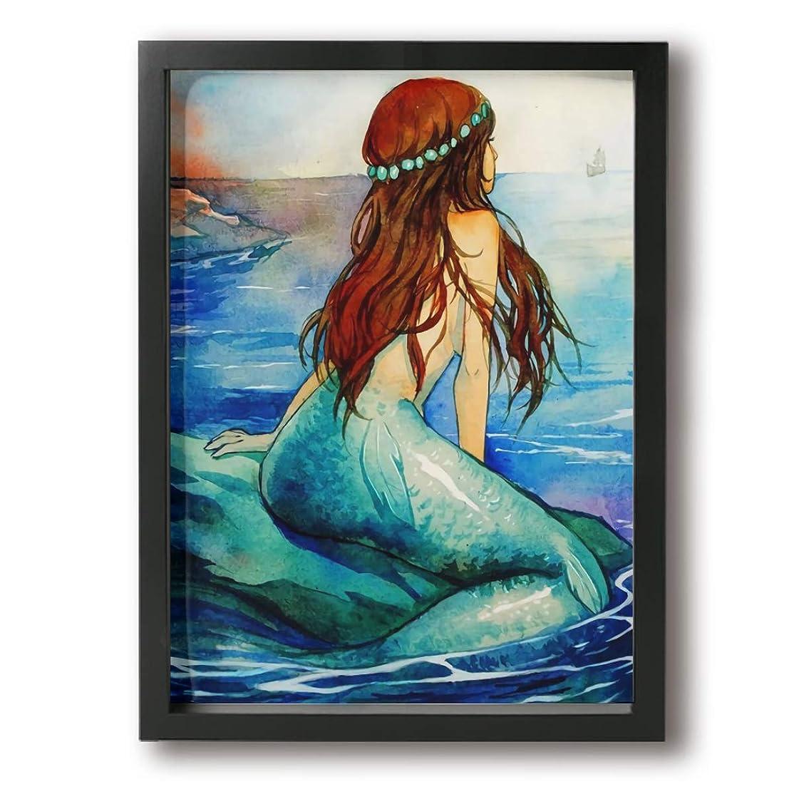 進化第二広範囲にKana-I マーメイド 人魚 室内装飾 額入り絵画 壁に掛かる お祝いギフト 30×40cm