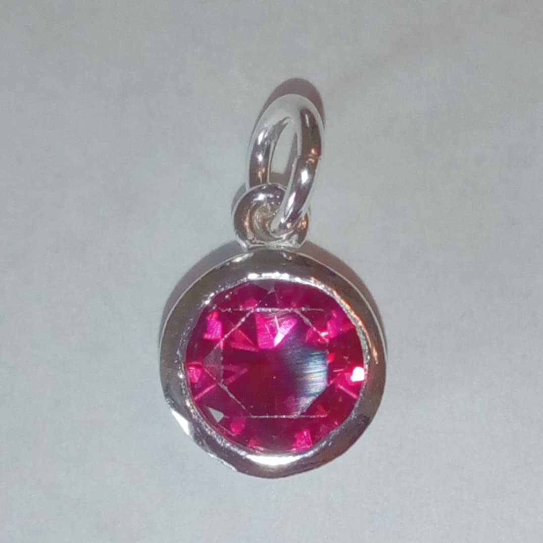 2 qty Sterling Silver CZ Garnet Color Crystal 8mm Charm Drop by JensFindings