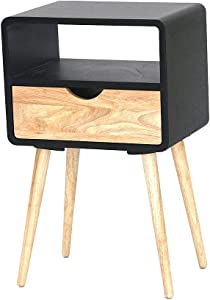 Heather Ann Creations Euro Collection Modern Accent Storage Cabinet, 1 Drawer/1 Shelf End Table, Black