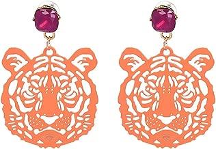 Special Design 2018 Statement Drop Tiger Head Earrings Resin Big Earring Large Brinco Ear Accessories Oorbellen
