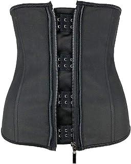 Corsets Women Latex Waist Trainer Body Shaper Corsets with Zipper Cincher Corset Top Slimming Belt Black Shapers Plus Size Fat Burner (Color : Black, Size : 6XL)