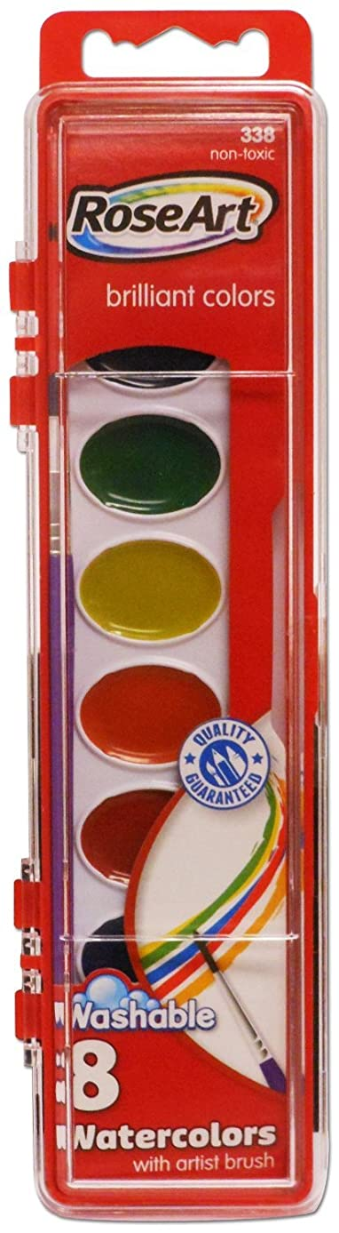 RoseArt 8-Color Washable Watercolors with 1 Paintbrush, Packaging May Vary (DFB80)