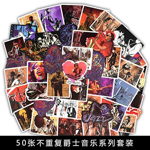 50 Pegatinas de Graffiti de música de Jazz, Pegatinas de Cuerpo de Guitarra en el frigorífico, baúl de Ordenador, Pegatinas de Coche Yukri