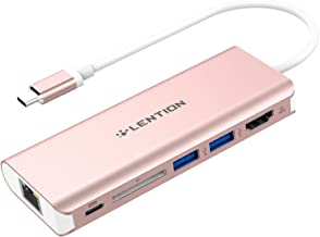 LENTION USB-C Digital AV Multiport Hub with 4K HDMI, 2 USB 3.0, Card Reader, Type C Charging, Gigabit Ethernet Adapter Compatible MacBook Pro 13/15 (Thunderbolt 3), New Mac Air, More (Rose Gold)