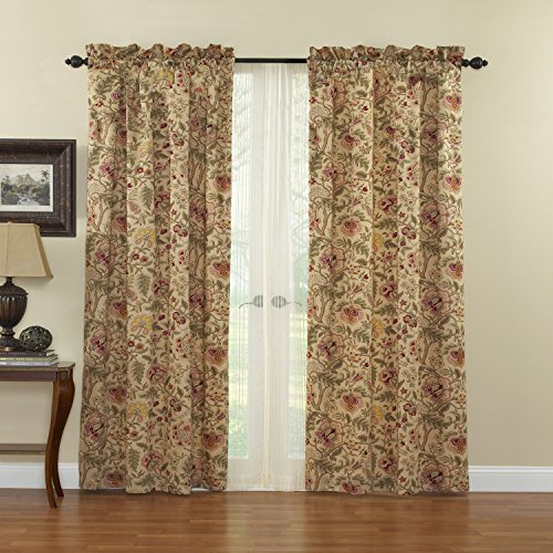 """WAVERLY Curtains for Bedroom - Imperial Dress 42"""" x 84"""" Decorative Single Panel Rod Pocket Window Treatment Privacy Curtains for Living Room, Antique"""