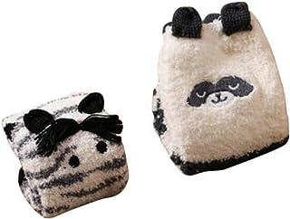 Black Temptation, 2 pares suave Fuzzy dormir medias antideslizantes, calcetines del piso Calcetines-cebra y Panda