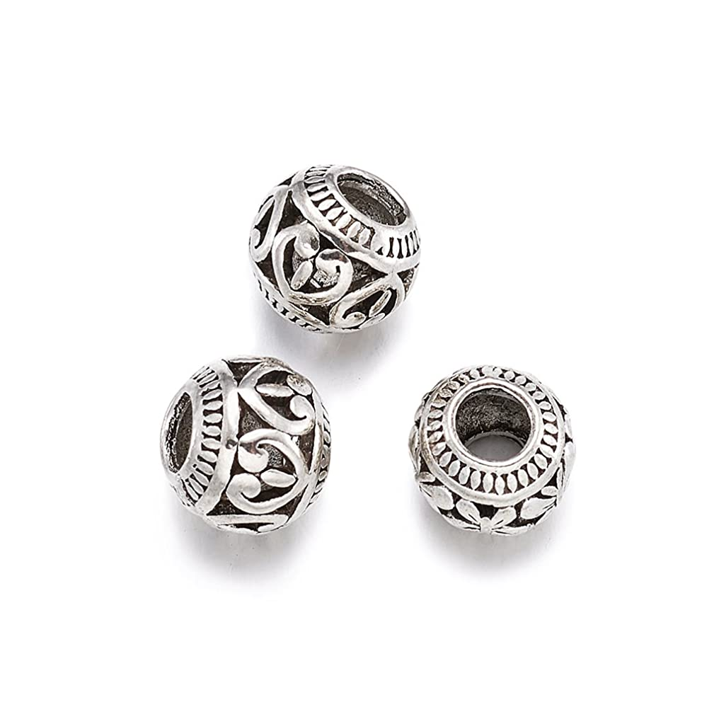 Kissitty 50-Piece Tibetan Antique Silver Large Hole Spacer Beads 11x9mm Rondelle with Heart Loose Beads for DIY Jewelry Necklace European Charm Bracelet Making