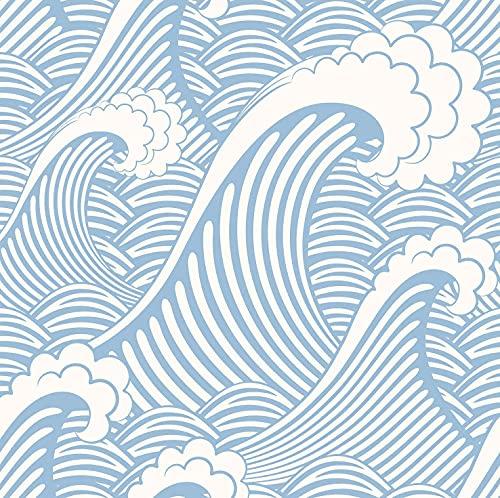 "Blooming Wall CPS030 Peel&Stick Handpainting Seamless Blue White Waves Sea Sprays Self-Adhesive Prepasted Wallpaper Wall Mural (17.7""x118"")"