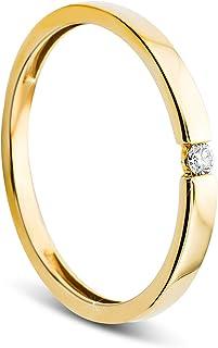 Orovi 2mm Ladies Yellow Gold Diamond Solitaire Ring 9Carat (375) 0.03crt Diamond Rounds