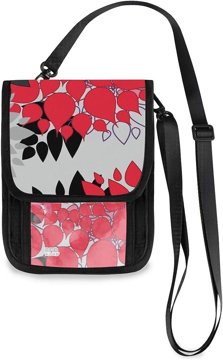 VIKKO Red Black Floral 55% OFF supreme Travel Neck Wallet - With RFID Blocking