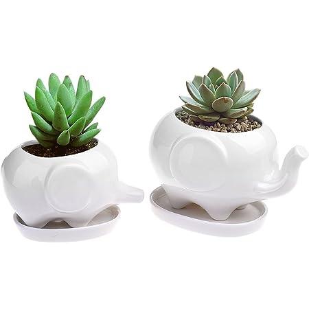 2pcs Elephant Flower Pot Modern White Ceramic Succulent Planter Pots Tiny Flower
