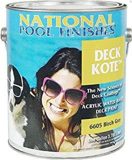 National Pool Finishes Deck Kote - Acrylic Waterbase Deck Paint - Satin Finish - 1 Gallon (#6601G Sand Buff)
