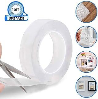 Reutilizable Nano Tape,LIUMY transparente doble cara Cinta Adhesiva de Pared Fuerte , reutilizable antideslizante de gel fuerte lavable , para pared, cocina, alfombra, fijación de fotos -9.84ft (3M)