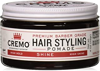 Cremo Premium Barber Grade Hair Styling Shine Pomade, High Hold, High Shine, 4 Ounce