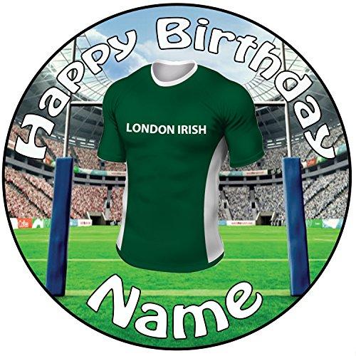 Personalisierter Vollfarbiger London Irish Rugby Zuckerguss Kuchen Topper / Kuchendekoration - 20 cm Großer Kreis - Jeder Name Und Jedes Alter