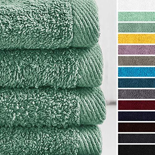 Lumaland Premium 4er Set Handtücher 50 x 100 cm aus 100% Baumwolle 500 g/m² mit Aufhänger seegrün