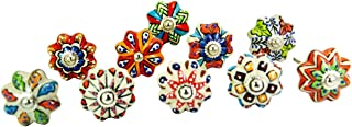 JGARTS Set of 10 Vintage Color Multi Designed Ceramic Cupboard Cabinet Door Knobs Drawer Pulls & Chrome Hardware