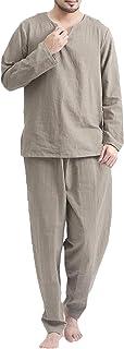 COOFANDY Men's 2 Pieces Cotton Linen Beach Hippie T Shirt and Pants Set Casual Long Sleeve Yoga Top Sleepwear Pajamas Set