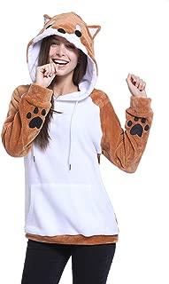 Women's Cute Coral Fleece Shiba Inu Dog Kangaroo Pocket Hoodies with 3D Dog Ear and Dog Tail