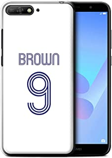 Personalized Custom Soccer Club Jersey Shirt Kit Case for Huawei Y6 (2018) / White Blue Design/Initial/Name/Text DIY Cover