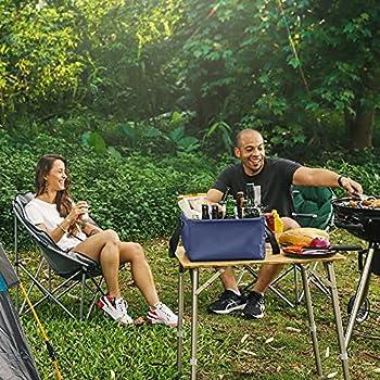 Navaris Seau Pliant en PVC - Bassine d'eau Pliable 15L en Bâche Goudronnée pour Pêche Camping Plage Jardin - Bac Rétractable avec Sangles Tissu