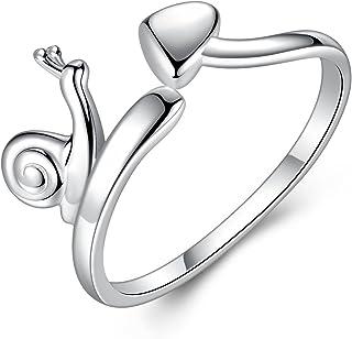 Gemshadow donne ragazze in argento Sterling 925anelli Lumaca dito regolabile