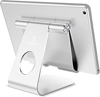 Tablet Stand Adjustable, Lamicall Tablet Stand : Desktop Holder Dock Cradle Compatible with New iPad 2017 Pro 10.5, 9.7, Air Mini 2 3 4, Kindle, Nexus, Accessories, E-Reader, Tab (4-13 inch) - Silver