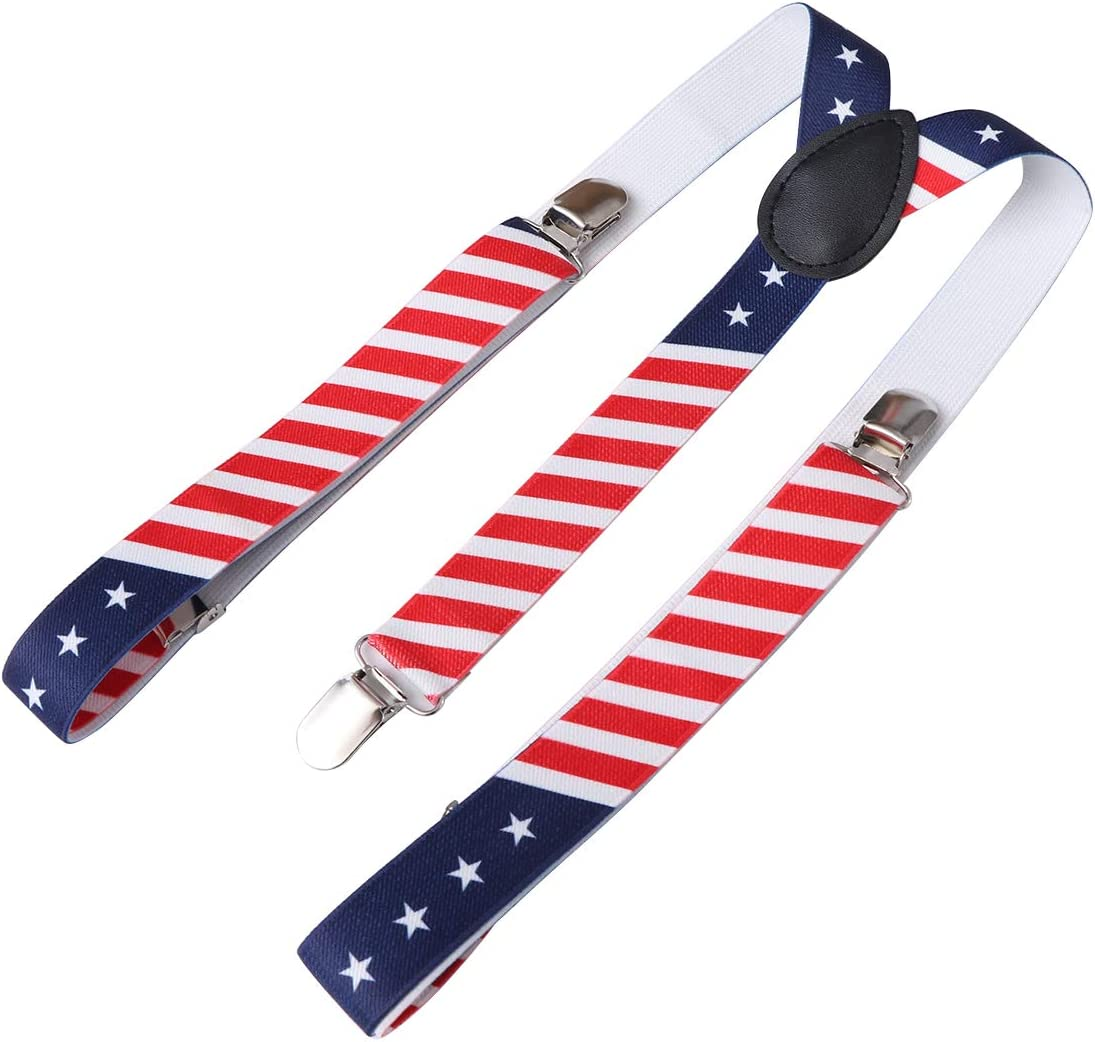 American Flag Clip-on Suspenders Adjustable Printing Elastic Y-Shaped Braces for Men Women
