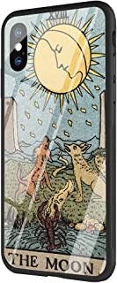 DAVIDLING Phone Case iPhone X/XS, Tempered Glass Back Cover and Soft Silicone Rubber Bumper Frame for Scratch-Resistant and Shock Absorption AM-256 Egypt Mysterious Tarot Divination