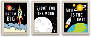 """Framed Outer Space Art Print Set of 3 (10""""X8"""")-Ready to Hang Cartoon Planet with Stars Rocket Wall Poster,Inspirational Quotes Canvas Artwork for Boys Bedroom Classroom"""