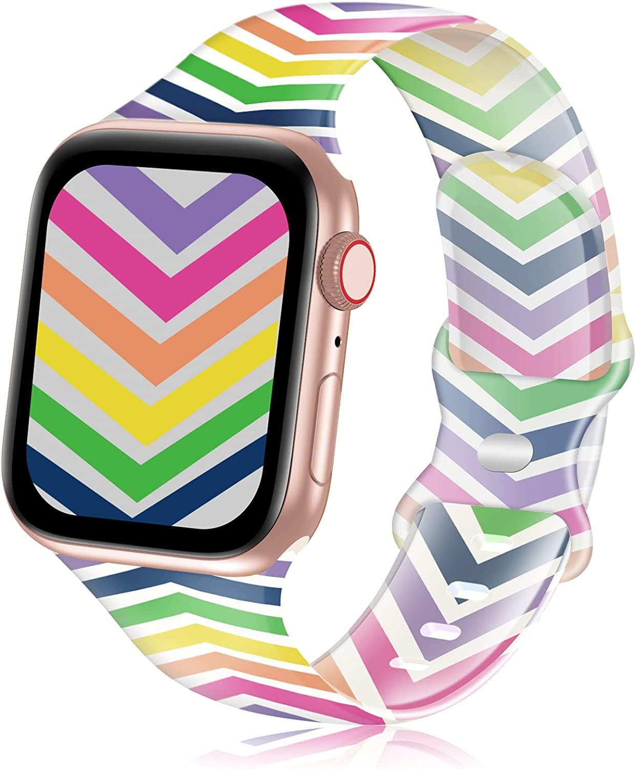 YAXIN Sport Band Compatible with Apple Watch Band 38mm 40mm 42mm 44mm 41mm 45mm Women,Silicone Transparent Floral Printed Fadeless Pattern Replacement Strap Band for iWatch Series 7 6 3 4 5 2 1 SE