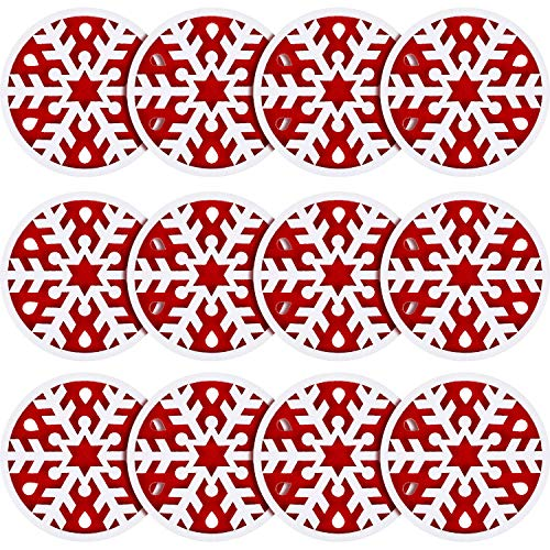 Irenare 12 Pieces Christmas Felt Coasters Christmas Decorations Snowflake Coasters Absorbent Felt Coasters Snowflake Design Cutwork Felt Coasters for Christmas Party Winter Holiday Dinner Decoration