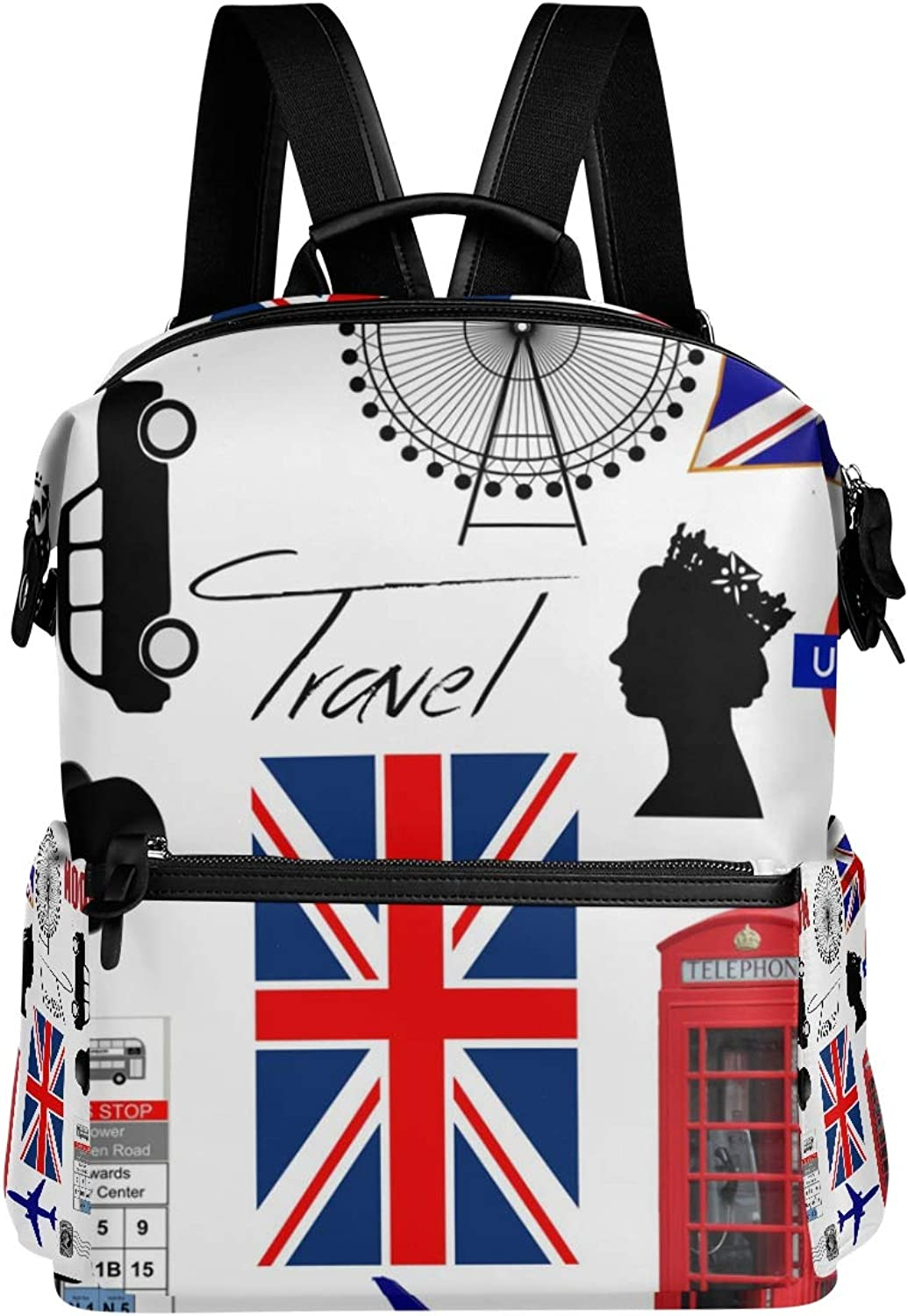 MONTOJ Awesome London UK Flag Paris Leather Travel Bag Campus Backpack