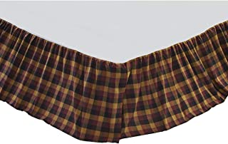 VHC Brands Primitive Heritage Farms Red Bed Skirt, Queen, Deep Burgundy