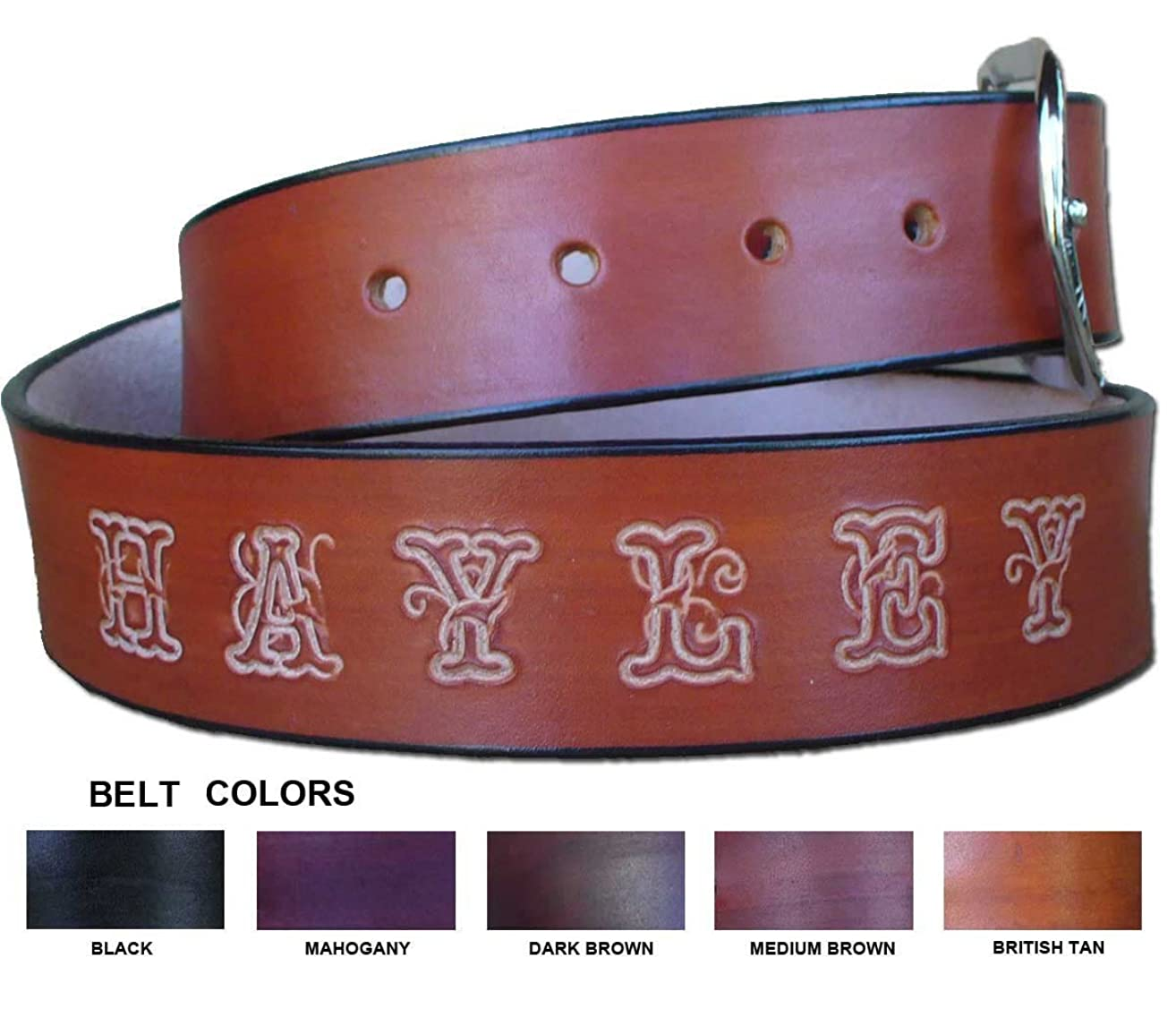 Personalized Leather Belt - Custom made Leather Belt Personalized with Your Name/Text - Made in USA by Pitka Leather