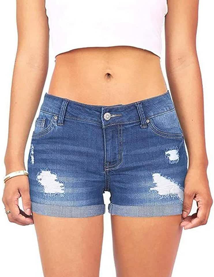 Women Juniors Ripped Jeans Shorts Casual High Waist Distressed Denim Hot Pants Mini Shorts