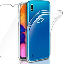 Leathlux Samsung Galaxy A10 Funda + Cristal Protector de Pantalla, Transparente TPU Silicona [Funda + Vidrio Templado] Ultra Fino Protector de Pantalla 9H Dureza HD Carcasas Samsung Galaxy A10