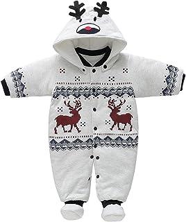 85032c691317a Bébé Combinaison Noël avec Chapeau Footies Ensembles Épais Barboteuse À Capuche  Chaud Manteaux Cartoon Jumpsuit Hiver