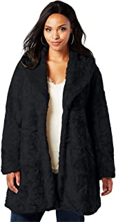 a76d9e16f2e Roamans Women s Plus Size Shawl Collar Faux-Fur Coat