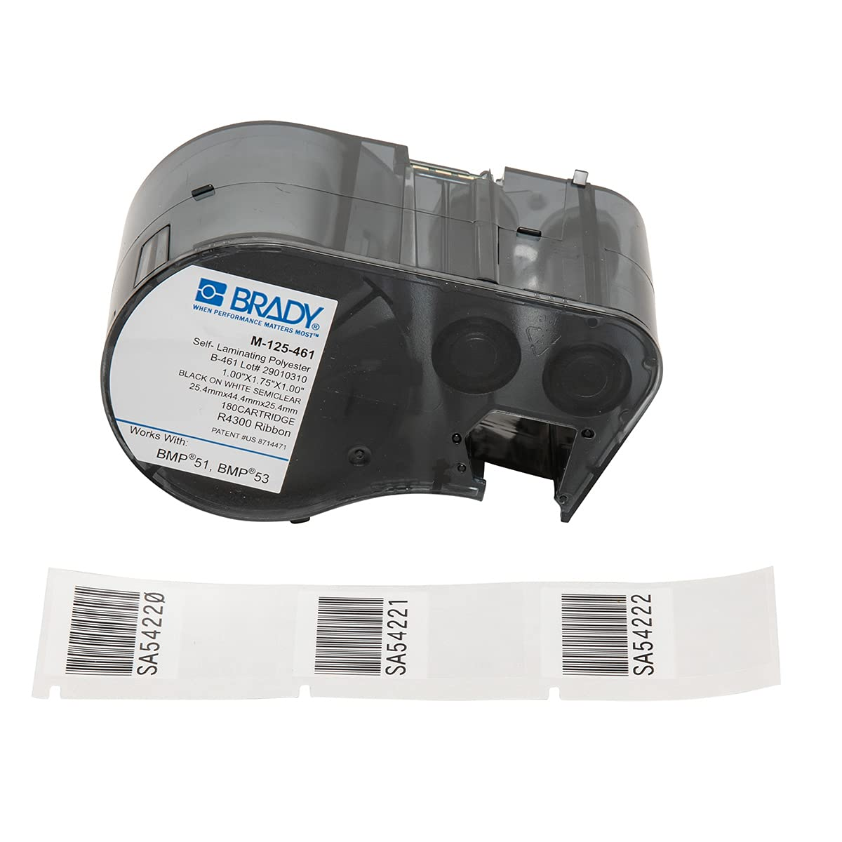 Brady M-125-461 Polyester B-461 Black on White/Clear Label Maker