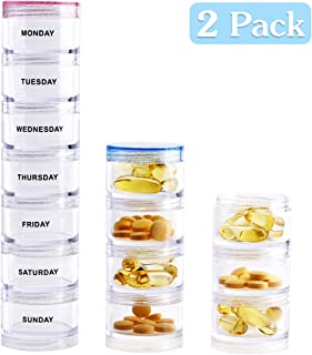 Weekly Pill Organizer - Stackable Vitamin Container,Detachable Tower Pill Box,7 Day Medication Organizer with Adheive Labels for Vitamin,Fish Oil,Supplements - Pink & Blue