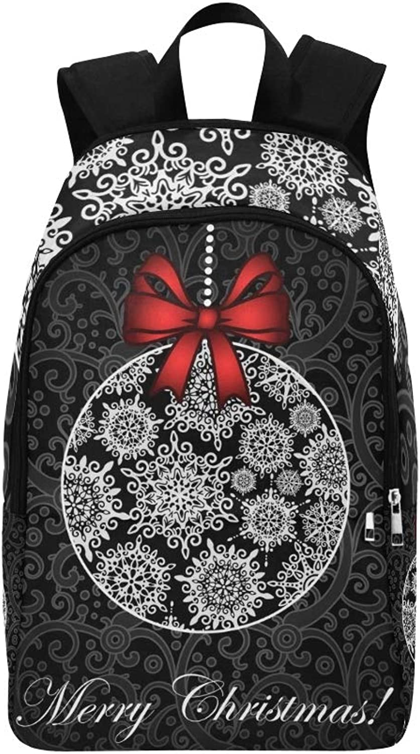Christmas Card Ball Snowflakes Casual Daypack Travel Bag College School Backpack for Mens and Women