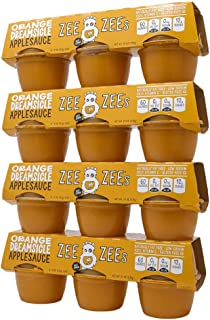 Zee Zees Orange Dreamsicle Applesauce Cups, All Natural, No Sugar Added, 4 oz Cups, 24 pack