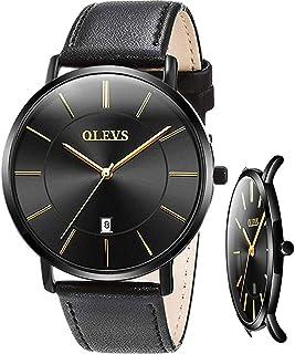 Men's Ultra Thin Watches Watches for Men Minimalist Analog Quartz Ultra Thin Watches Leather Strap Fashion Casual Date Watch Waterproof Wrist Watch