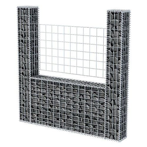 Gabione U-Form Stahl 160 x 20 x 150 cm Gabione Wand Sitzfläche Stein-Gabionen Steinzaun Drahtkorb